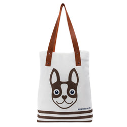 Boston Terrier Striped Urban Tote Bag - Brown Boston Terrier Love
