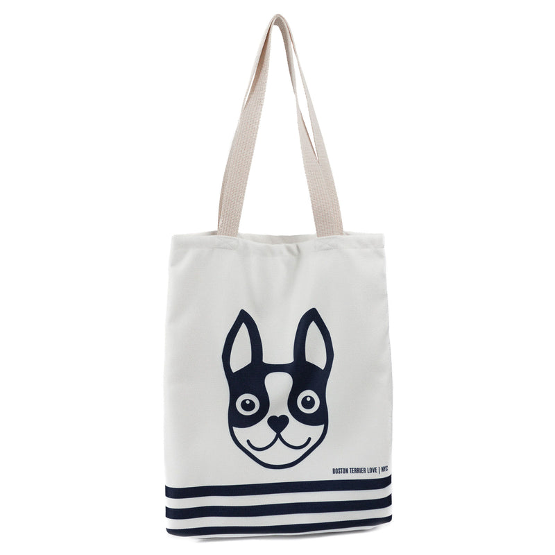 Boston Terrier Striped Basic Tote Bag - Navy Boston Terrier Love