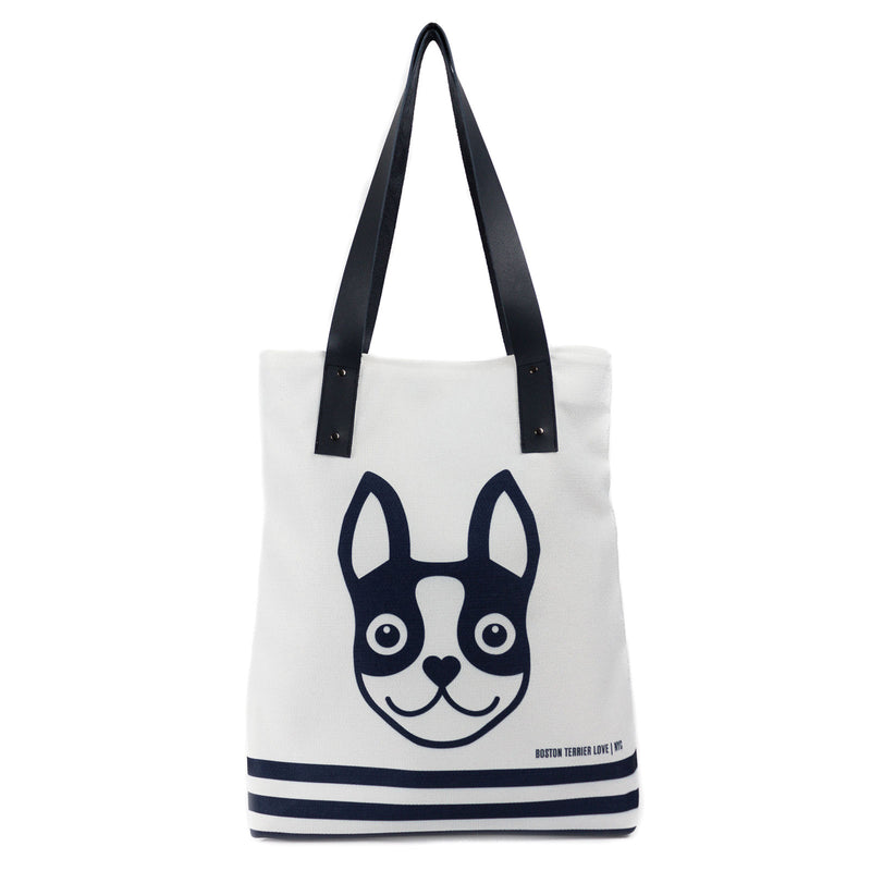 Boston Terrier Striped Urban Tote Bag - Navy Boston Terrier Love