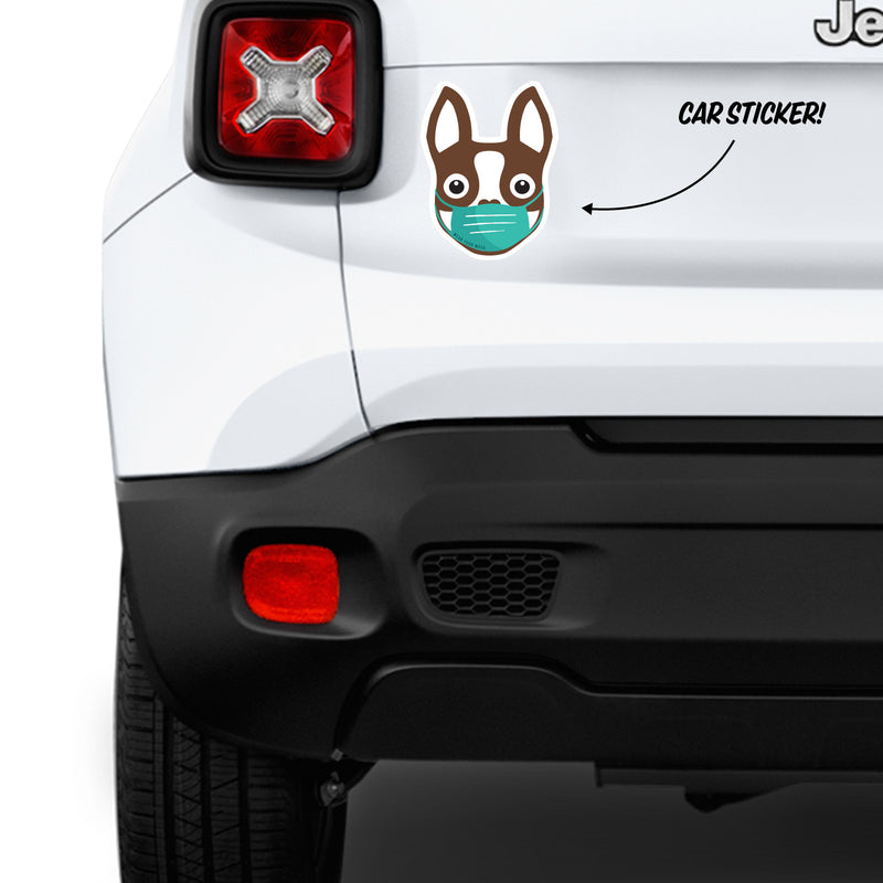 Boston Terrier wearing mask - Car Bumper Sticker - Brown - 6""