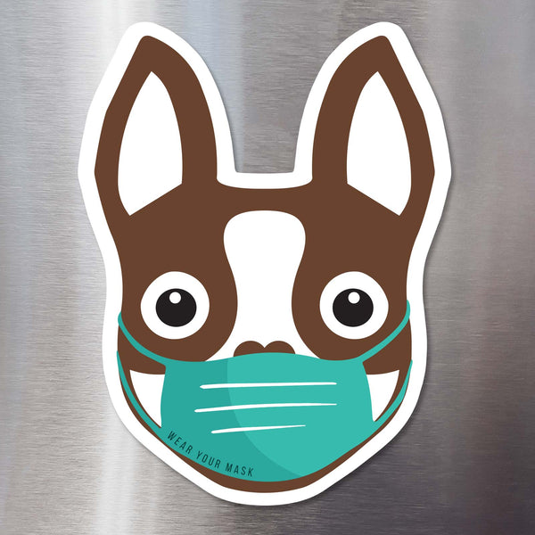 BOSTON TERRIER WEARING MASK - CAR FLEXIBLE MAGNET - BROWN - 5.5""