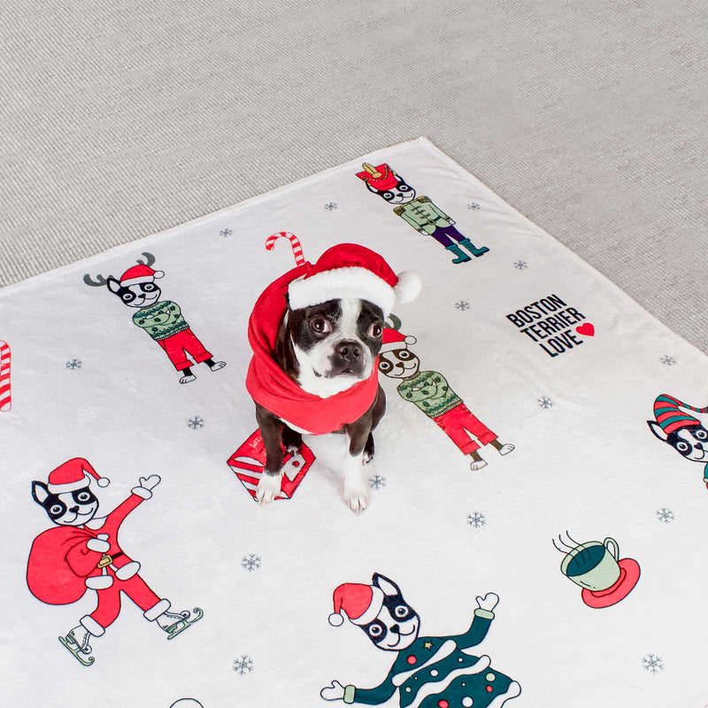 "Boston Terrier Love | Holiday Soft Fleece Blanket 50"" x 60"""