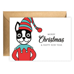 Elf Boston Terrier | Holiday Card (Landscape)