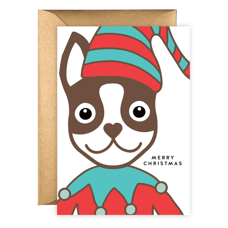 Elf Boston Terrier | Holiday Card (Portrait)