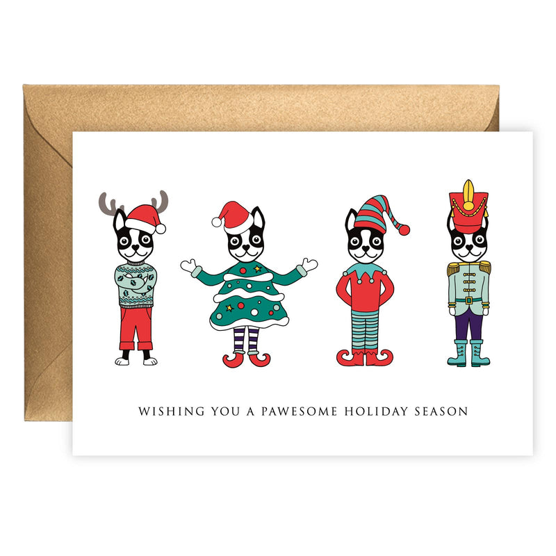 Four Festive Boston Terriers | Holiday Card (Landscape)