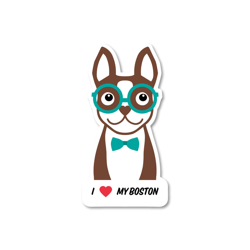 I love my Boston sticker - Brown - 3""