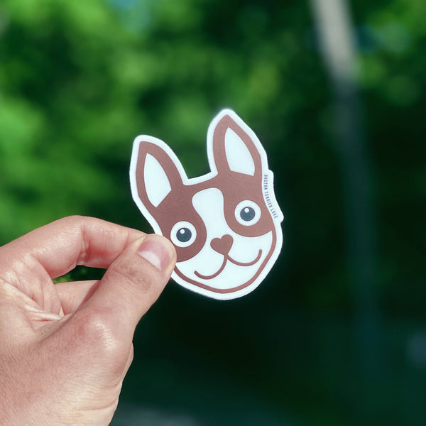 Boston Terrier Icon Sticker - Brown - 3""