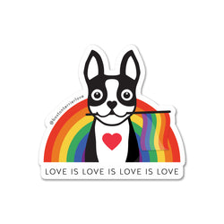 Love is Love Boston Terrier Rainbow Sticker - Black
