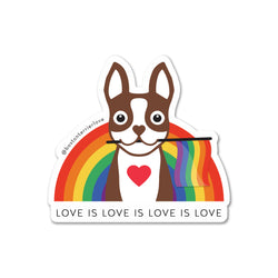 Love is Love Boston Terrier Rainbow Sticker - Brown