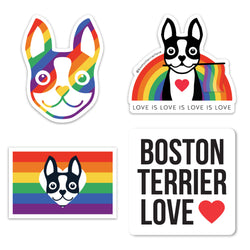 RAINBOW PRIDE BOSTON TERRIER STICKER PACK - BLACK