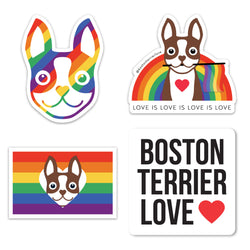 RAINBOW PRIDE BOSTON TERRIER STICKER PACK - BROWN