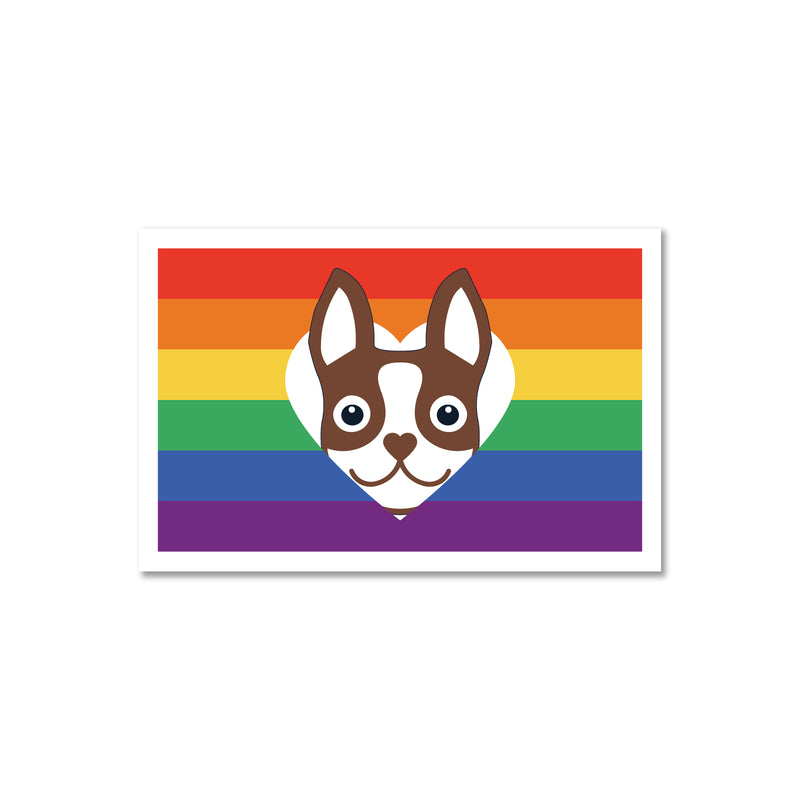 Rainbow Flag Boston Terrier Sticker - Brown