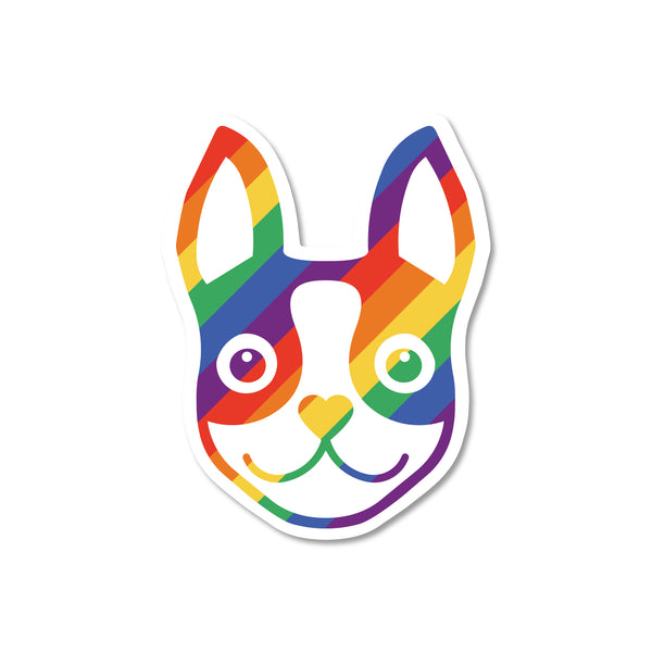 Boston Terrier Icon Rainbow Sticker - 3""