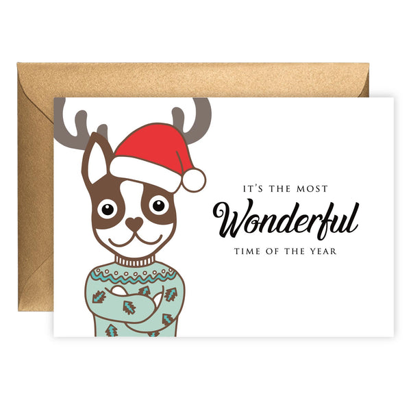 Reindeer Boston Terrier | Holiday Card (Landscape)