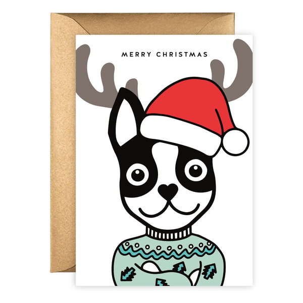 Reindeer Boston Terrier | Holiday Card (Portrait)