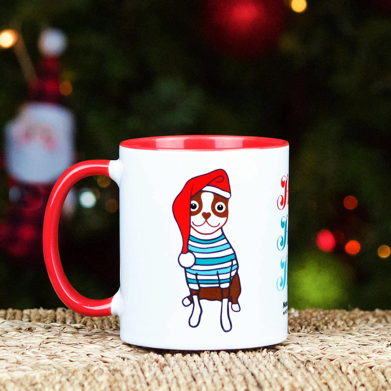 SANTA PAWS BOSTON TERRIER | HOLIDAY MUG - RED BROWN