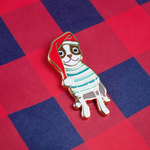 SANTA PAWS - RED BROWN BOSTON TERRIER  CHRISTMAS ENAMEL PIN