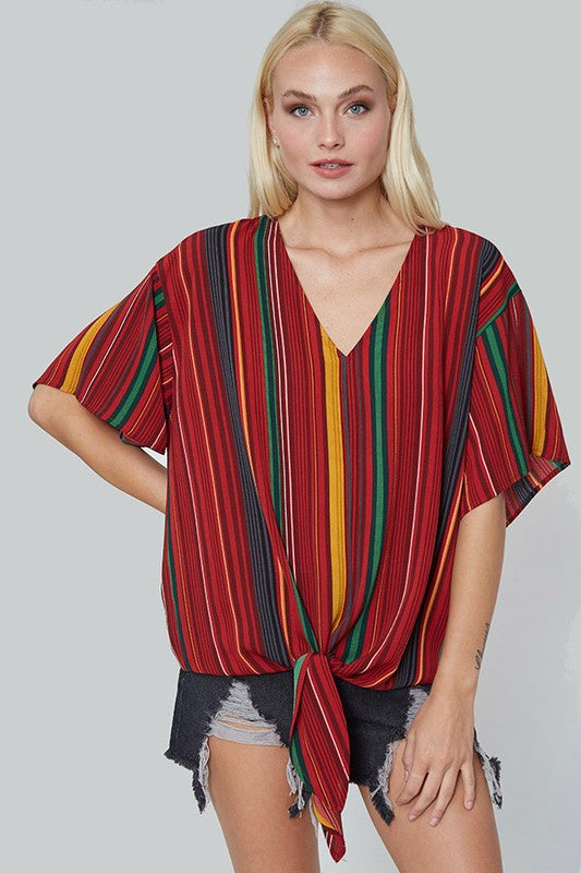 Autumn Sunset Stripe Top