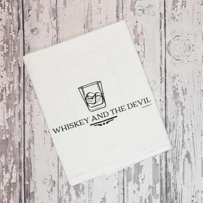 Whiskey and the Devil Flour Sack Tea Towel