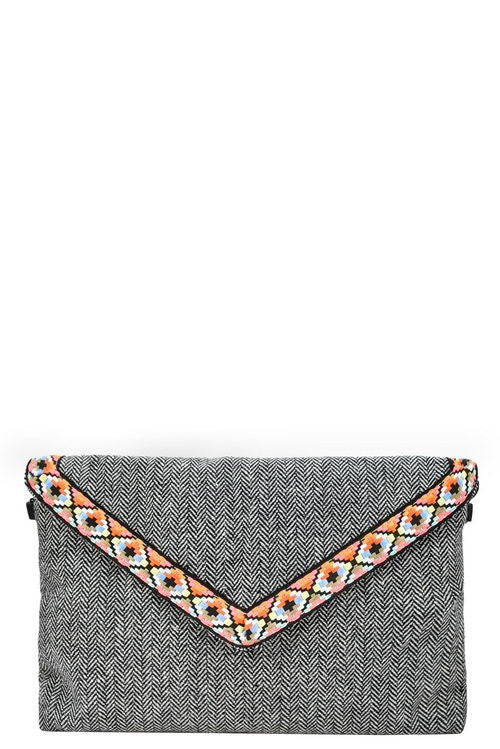 Black Tribal Flap Clutch