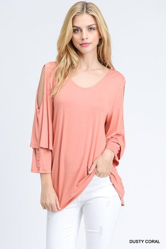 Dusty Coral Layered Sleeve Top
