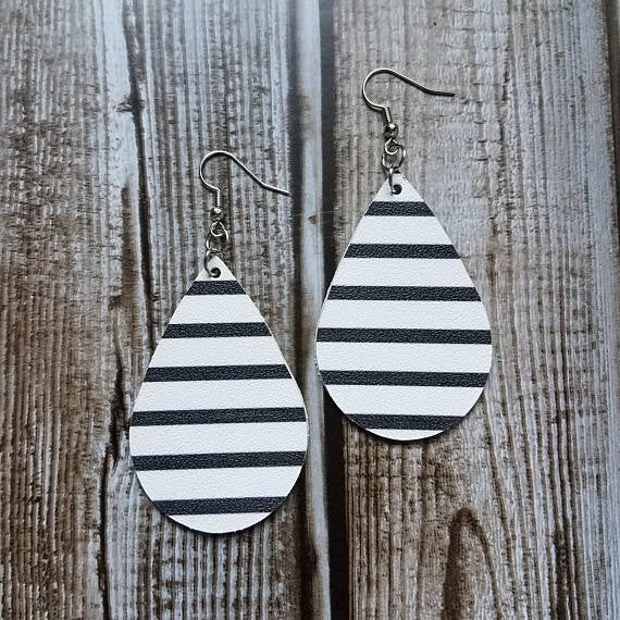 Black & White Striped Leather Tear Drop Earrings