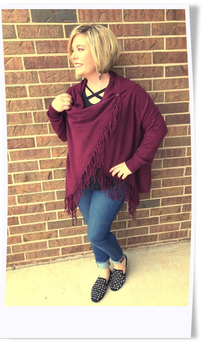 Worth It Two Way Fringe Cardi
