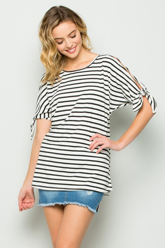 Benny Ribbon Sleeve Striped Top