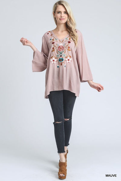 Blush Embroidered Bell Sleeve Top (SALE 50% off -  Originally $36)