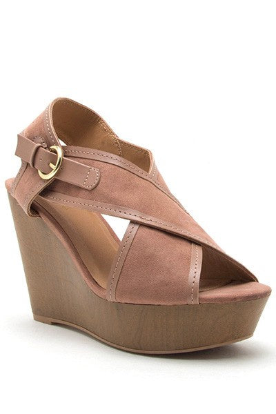 Dark Blush Crisscross Wedge