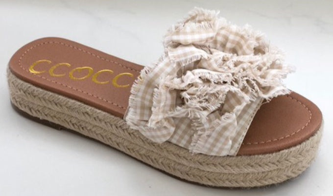 Harlow Espadrille Ruffle Slide On