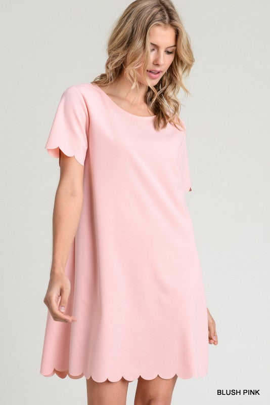 Sweet Savannah Scalloped Dress in Blush