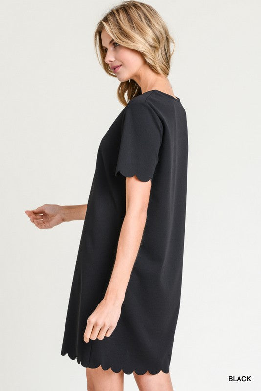 Sweet Savannah Scalloped Dress In Black Spruced Cooperative