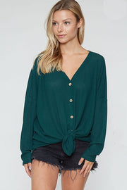 Love Someone Waffle Knit Tie Front Top - Two Colors