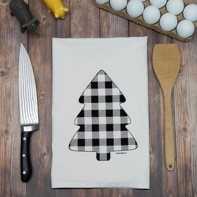 Buffalo Check Pine Tree Flour Sack Tea Towel