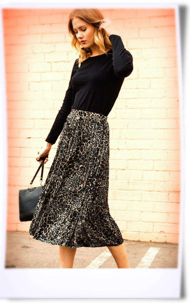 Finally Free Velvet Leopard Skirt
