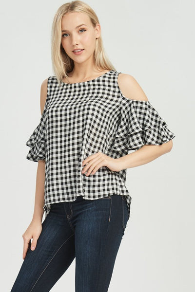 Ellis Gingham Cold Shoulder
