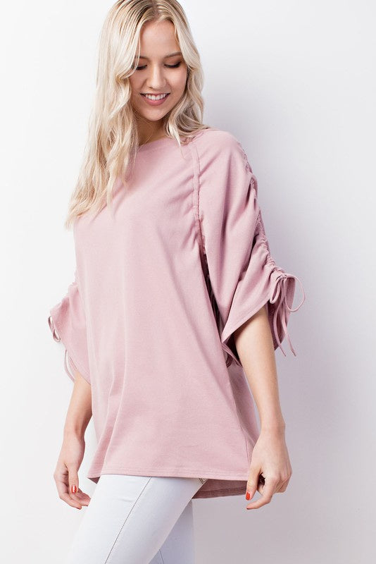 Isa Blush Ruched Sleeve Top