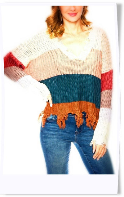 Wonderland Frayed Sweater