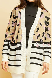 It's In My Heart Mixed Print Leopard Cardigan