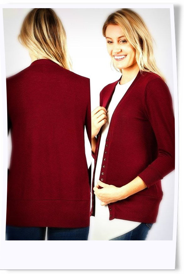 Ansel Button Cardi in Crimson