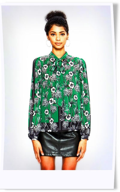 Thinking Out Loud Green Print Blouse