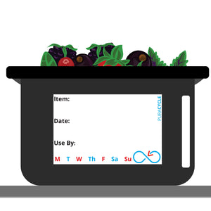 Puracycle Standard Label, 100 Pack, Labels, puracycle.com, Food Rotation Label, purecycle, plastic food bin, black food bin, berry storage