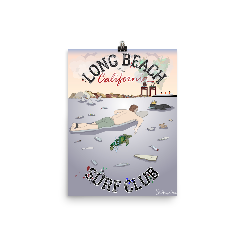 Long Beach Surf Club- Signed Print