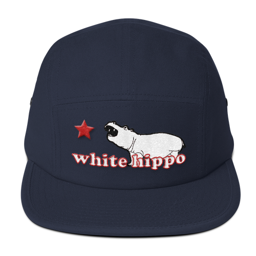The Semi-Official White Hippo- Five Panel Cap