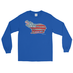 White Hippo Americana - Long Sleeve T-Shirt