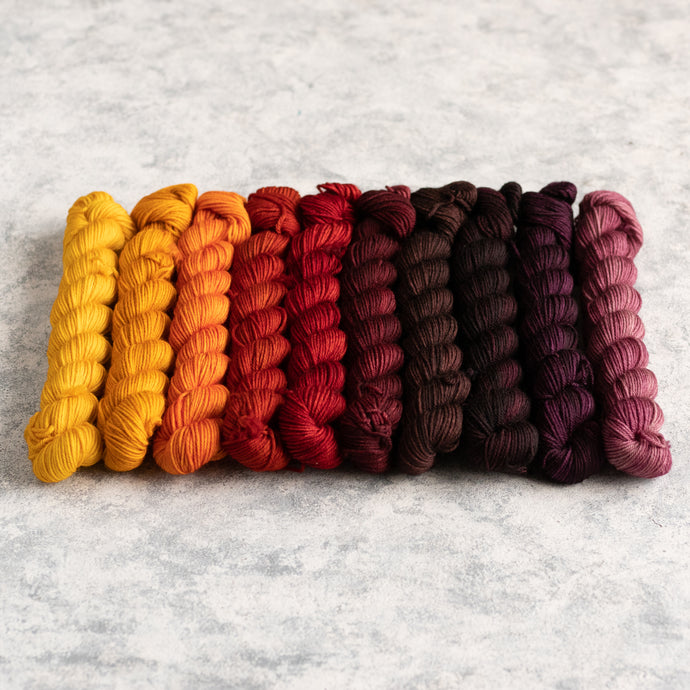 Autumn Rainbow - 10 Skein Gradient Set - Sock 20g Mini
