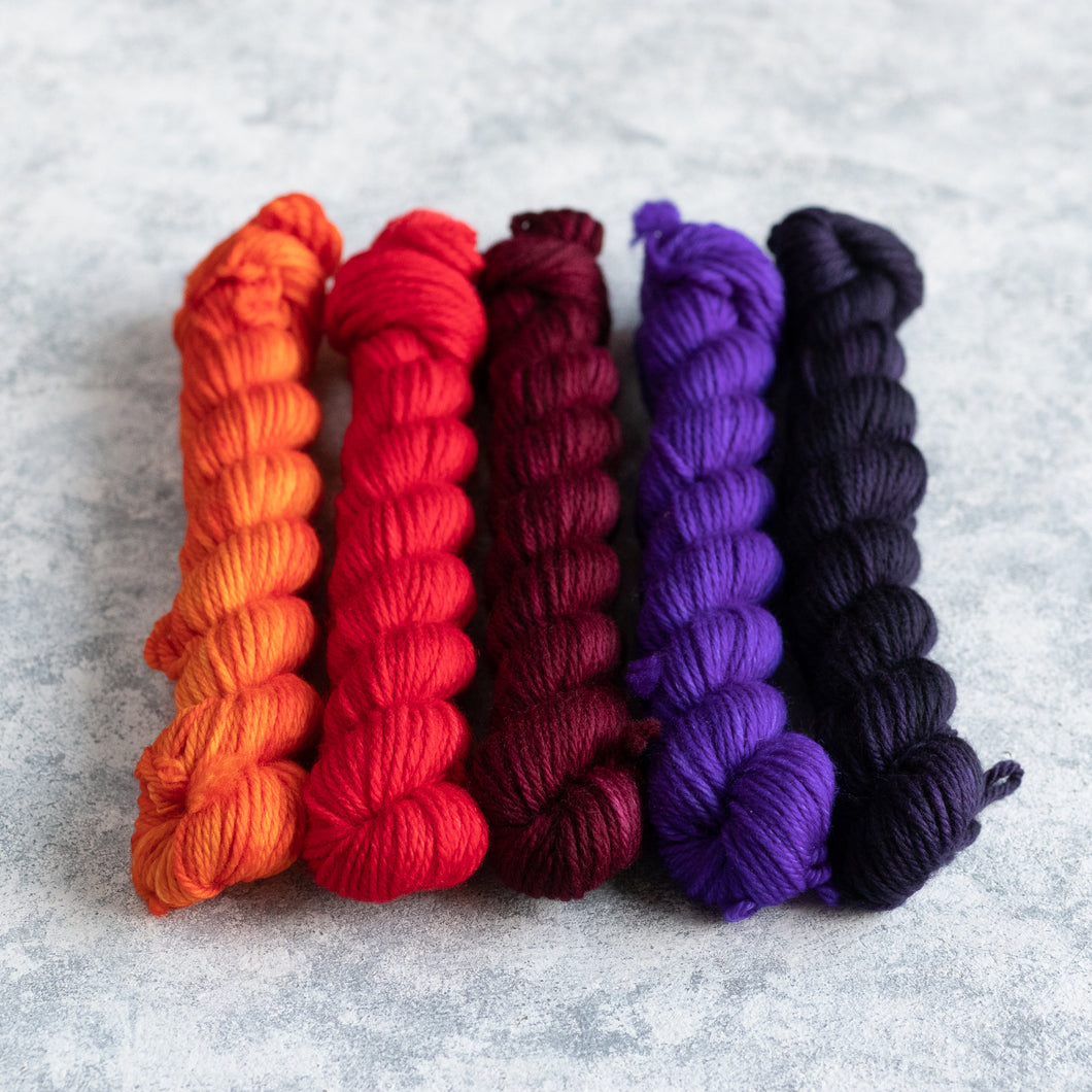 Monster Mash - 5 Skein Gradient Set - DK 20g Mini