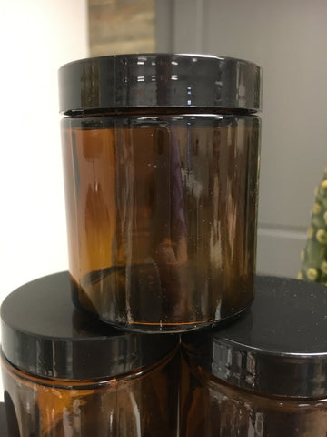 Amber Glass Jar 4 oz with Black Lid