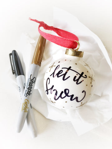 Hand Lettering with Christmas Ornaments